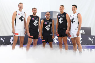 Harry McKay, Sam Docherty, Eddie Betts, Patrick Cripps and Jacob Weitering modelling the Blues' 2020 uniforms.