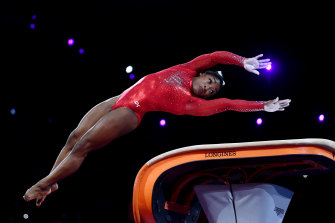 Simone Biles won gold with two brilliant vaults.
