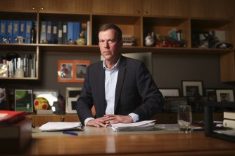 Trade and Tourism Minister Dan Tehan in his office at Parliament House in Canberra, before departing Australia on Sunday.