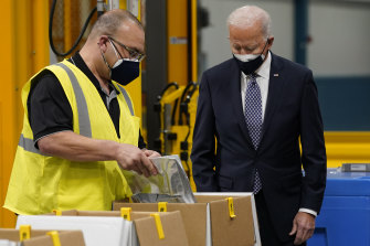 US President Joe Biden tours a Pfizer plant in Michigan. The country's vaccine rollout is proceeding at a staggering pace - nearly 40 per cent of the population is already fully vaccinated.