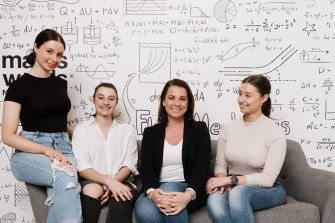 Sia Goutzas with her daughters who all went to single-sex schools (from left) Tiana, 18, Elizabeth, 16, and Giorgia, 20.
