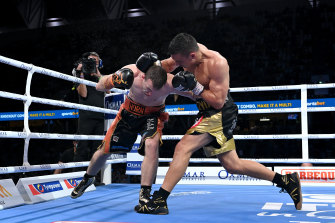 Tim Tszyu, right, dominated Jeff Horn in every round to win the fight.