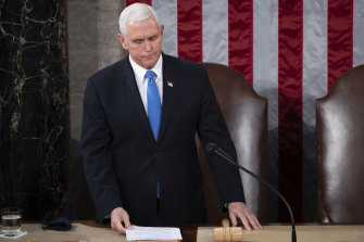 Vice-President Mike Pence officiates as the joint session of Congress.