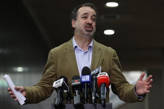 Minister for Jobs Martin Pakula discusses details of the support package on Friday.