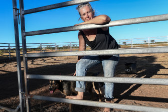 Katherine vet Sam Phelan on the farm where she lives, a property under application for gas exploration.