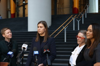 Former Political Staffer Brittany Higgins speaks to the media after meeting with Prime Minister Scott Morrison at the CPO in Sydney on April 30, 2021
