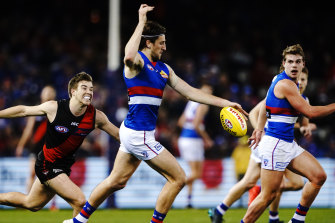 Marcus Bontempelli was one of the Bulldogs many stars as they demoralised Essendon.