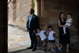 Outgoing University of Sydney vice-chancellor Michael Spence with his wife, Jenny, and three of their children.