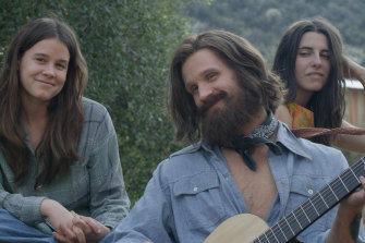 Matt Smith as Manson, with Sosie Bacon as Patricia Krenwinkel (left) and Marianne Rendon as Susan Atkins.