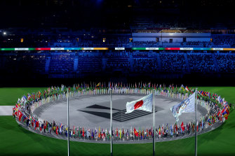 A view as the flag bearers of the competing nations enter the stadium during the closing ceremony.