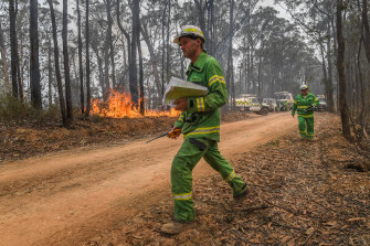 DELWP officers burn a containment line along Blaze Road north of Bairnsdale in January.