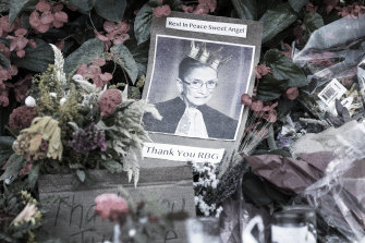Tributes to Ruth Bader Ginsburg outside the US Supreme Court on September 21.