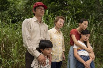 Steven Yeun, Alan S. Kim, Yuh-Jung Youn, Yeri Han and Noel Cho in Minari, which picked up three nominations.