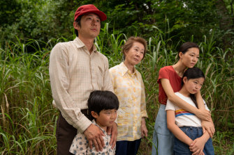 Two acting nominations: Steven Yeun with (from left) Alan S. Kim, Yuh-Jung Youn, Yeri Han and Noel Cho in Minari.