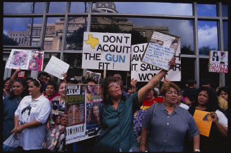 Selena fans congregate outside the courthouse in Houston, Texas during the slain singer's murder trial.