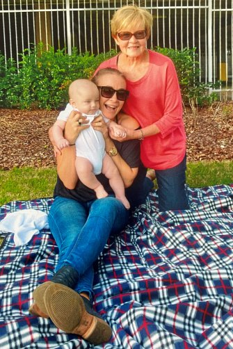 Bridges' first Mother's Day, in 2016, with baby Axel and mum Maureen.