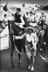 Blast from the past: Darren Beadman on Super Impose after winning the Epsom Handicap in 1991.
