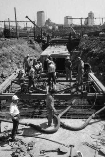 Workers pour concrete for the City Loop, 1972.