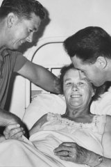 Kevin (left) and David Rogers of Mildura greet their mother, Maisie Rogers at Benella Hospital after the crash.