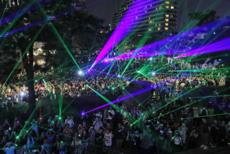 The laser party was a dazzling light show.