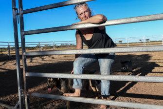 Katherine vet Sam Phelan on the farm where she lives, a property under application for gas exploration.