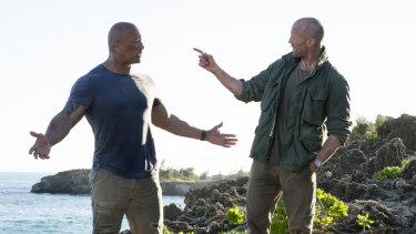 Luke Hobbs (Dwayne Johnson, left) and Deckard Shaw (Jason Statham) in Fast & Furious Presents: Hobbs & Shaw.