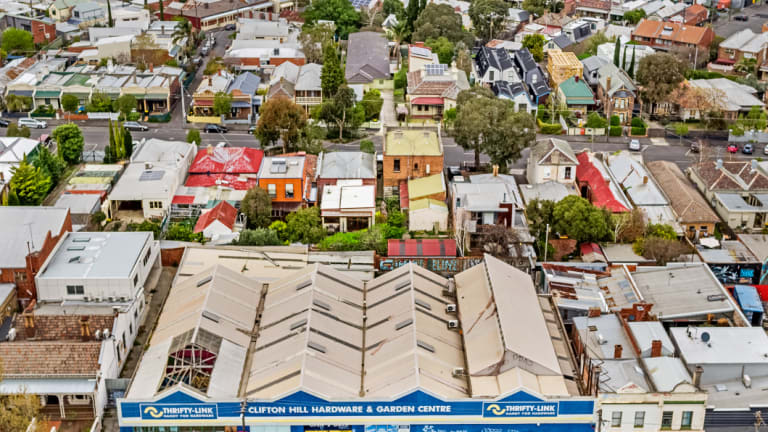 Aerial shot of 15-33 Queens Parade, Clifton Hill, near the top of Smith Street.