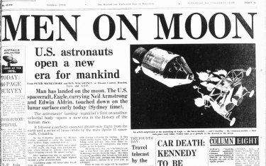 The Sydney Morning Herald's front page reporting on the Apollo 11 landing.