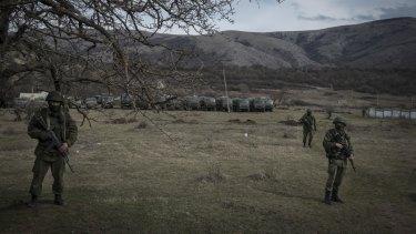 Russian soldiers in Crimea in 2014.
