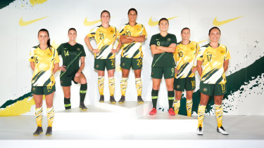 'Spew' generation: The Matildas model the critically acclaimed 'New Spew' kit.