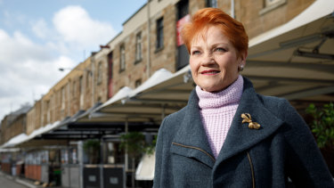 Pauline Hanson, pictured in Hobart on Tuesday, has had plenty of time to consider the government's proposed company tax cuts.