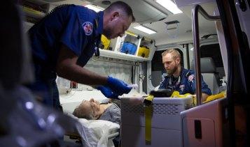 NSW Ambulance Paramedics saving the life of a 70-year-old man.
