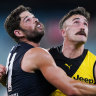Carlton's Levi Casboult and Richmond's Ivan Soldo compete for the ball in front of ... nobody.