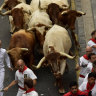 Revellers run next to fighting bulls during the running of the bulls at the San Fermin Festival, in Pamplona, northern Spain, Sunday, July 7, 2019. Revellers from around the world flock to Pamplona every year to take part in the eight days of the running of the bulls.