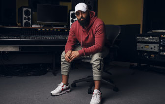 Music producer Khaled Rohaim works from his studio in Sydney and has produced songs for the likes of Rihanna and Ariana Grande.
