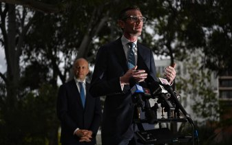 NSW Premier Dominic Perrottet addresses the media on Tuesday.