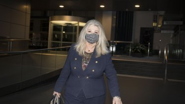 Helen Coonan leaves the Victoria royal commission after giving evidence on Thursday.