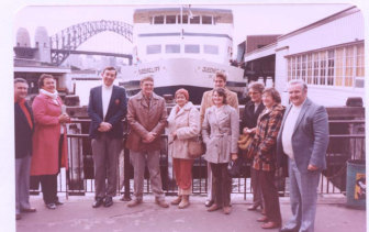 Val Dolly (fourth from the right) and other members of the Queenscliff SLC at Circular Quay after the first voyage of the Queenscliff in 1983.