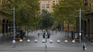 The finance hub of Sydney's Martin Place is quiet due to the coronavirus lockdown.