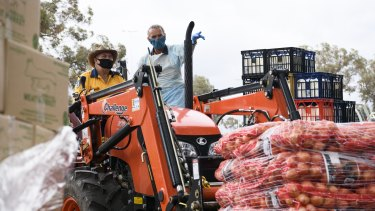 A massive delivery of fresh fruit and vegetables arrives in Wilcannia on Saturday,