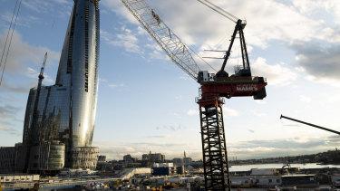 The Crown casino tower under construction at Barangaroo.