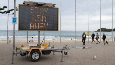 Manly Beach on Friday, during the coronavirus lockdown.