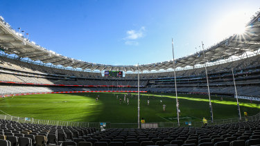 Optus Stadium in Perth, the likely venue of the 2021 grand final.