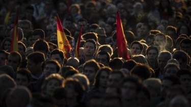 Spain's far-right Vox Party supporters attend the closing election campaign event in Madrid.