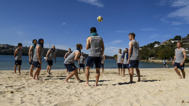 Blue Skies ahead: Sydney FC go through their recovery session on Thursday ahead of the grand final.