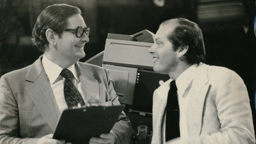 Bill Collins and Jack Nicholson in 1976 for an interview promoting Nicholson's film One Flew Over the Cuckoos Nest.