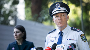 NSW Police Commissioner Mick Fuller and Premier Gladys Berejiklian at a press conference on Friday April 24.