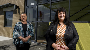 Southern Youth and Family Services chief executive Narelle Clay (r) and youth worker Amy Hans are worried about the future of government funding for community services.