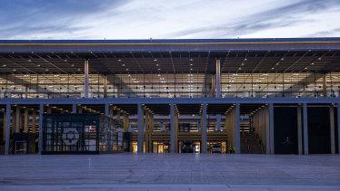 Entrance to new BER Berlin Brandenburg airport in Schoenefeld, Germany.