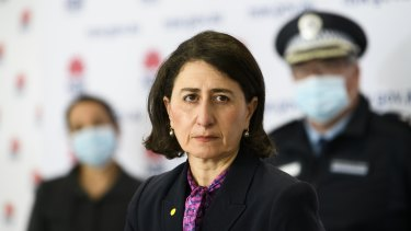 NSW Premier Gladys Berejiklian announcing a record number of daily coronavirus cases at today's press conference in Sydney.
